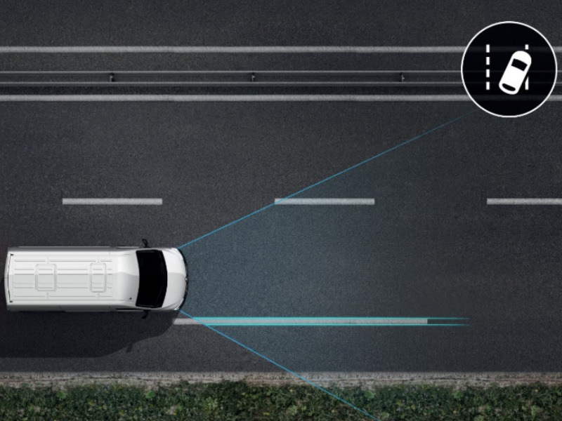 Spurhalteassistent: optional bestellbar, warnt bei Verlassen der Spur und steigert die Sicherheit.